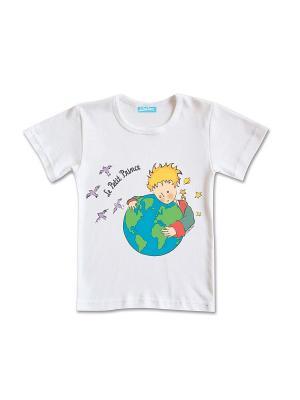 Футболка Маленький Принц с Земным Шаром. Цвет: белый