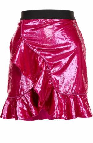 Мини-юбка с контрастным поясом и оборками self-portrait. Цвет: розовый