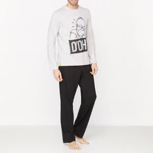 Пижама с рисунком, длинные рукава SIMPSONS. Цвет: черный/серый меланж