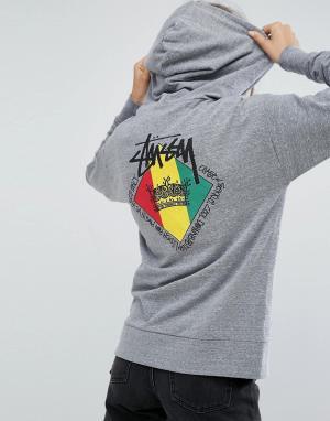 Stussy Худи с принтом Reggae. Цвет: серый