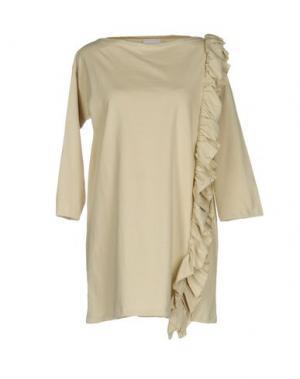 Короткое платье PINK BOW. Цвет: бежевый