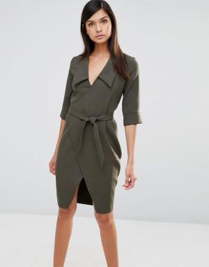 Vesper Платье с запахом и рукавами 3/4. Цвет: зеленый