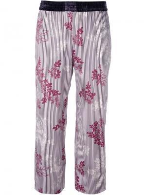 Укороченные брюки с цветочным узором Forte. Цвет: розовый и фиолетовый