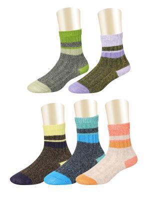 Носки, 5 пар Glamuriki. Цвет: зеленый, голубой, оранжевый