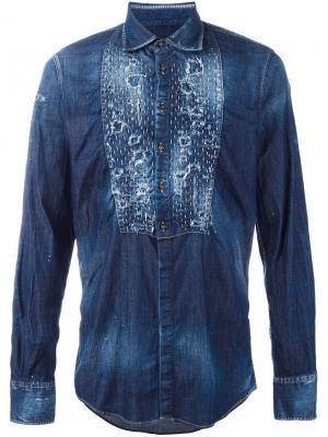 Джинсовая рубашка с рваными деталями Dsquared2. Цвет: синий