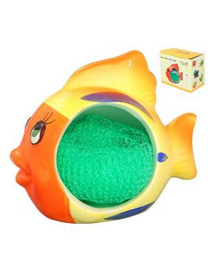 Подставка для губки Рыбка-полосатик с губкой Elan Gallery. Цвет: оранжевый, желтый, синий