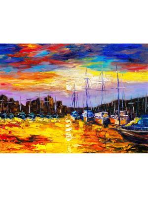 Картина гавань вечер Ecoramka. Цвет: лазурный, светло-желтый, светло-коричневый