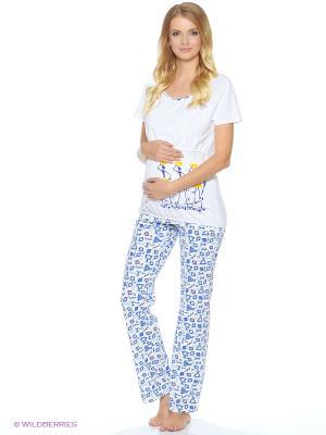 Пижама impressmama. Цвет: синий, белый