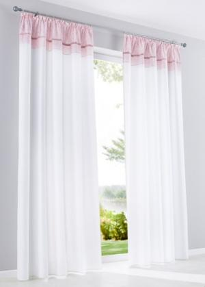 Штора Давина (1 шт.), гофрированная тесьма (белый/розовая пудра) bonprix. Цвет: белый/розовая пудра