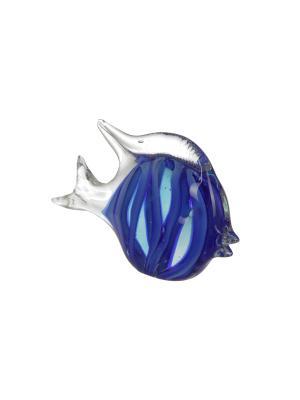 Статуэтка Рыба, стекло, 13х20 Home Visage. Цвет: синий