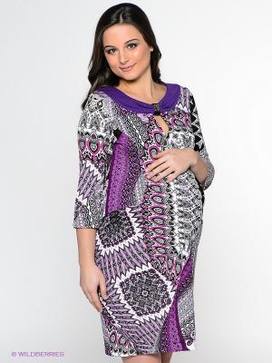 Платье UNIOSTAR. Цвет: фиолетовый, белый, черный, коричневый