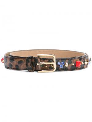 Декорированный ремень с леопардовым узором Dolce & Gabbana. Цвет: коричневый