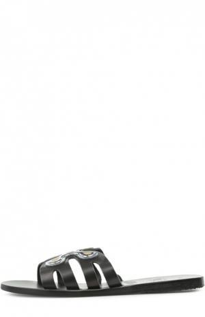 Кожаные шлепанцы Silicon Flower Ancient Greek Sandals. Цвет: черный