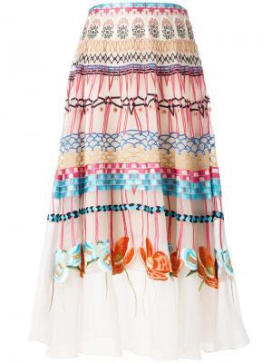 Плиссированная юбка с комбинированным узором Temperley London. Цвет: многоцветный