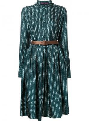 Расклешенное платье на пуговицах Martin Grant. Цвет: зелёный