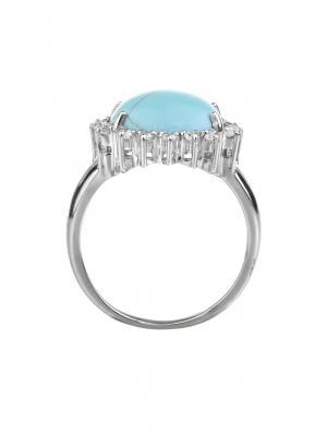 Классическое кольцо Бирюза KU&KU. Цвет: серебристый, бирюзовый