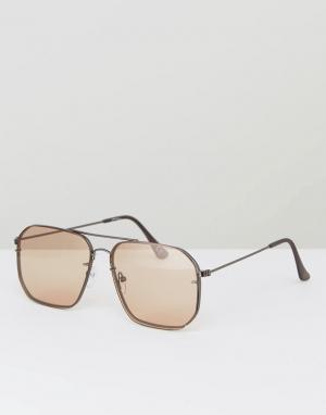 Jeepers Peepers Большие квадратные солнцезащитные очки-авиаторы с затемненными стеклам. Цвет: оранжевый