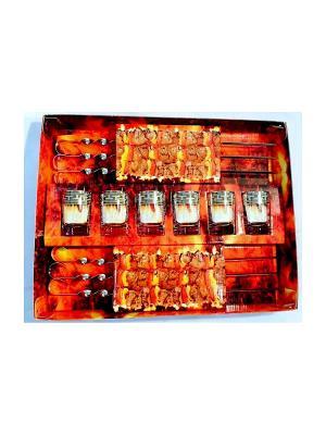 Набор 12 предметов  для шашлыка стопка+шампур с рисунком Греческий узор Гусь-Хрустальный. Цвет: прозрачный