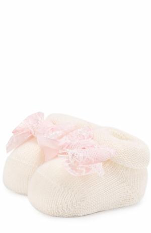 Шерстяные пинетки с бантами Aletta. Цвет: розовый