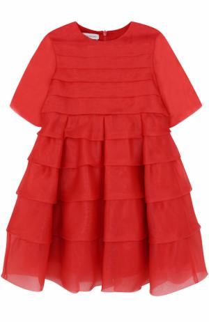 Шелковое мини-платье с оборками I Pinco Pallino. Цвет: красный