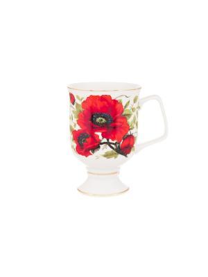 Кружка для капучино и кофе латте Маки Elan Gallery. Цвет: красный, зеленый