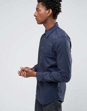 PS by Paul Smith Темно-синяя строгая рубашка в горошек. Цвет: темно-синий