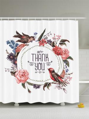 Фотоштора для ванной Японский цветок, птицы на венке, розовый букет, бабочки цветущей ветке, 18 Magic Lady. Цвет: белый, бордовый, красный, молочный, черный