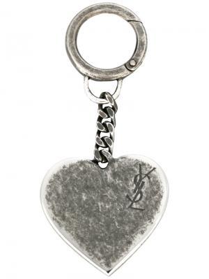 Брелок в форме сердца Saint Laurent. Цвет: серый