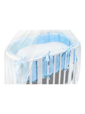 Комплект в круглую кроватку Лежебоки 2 предмета Сонный гномик. Цвет: голубой