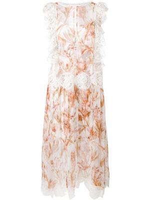 Прозрачное платье с рюшами Zimmermann. Цвет: телесный