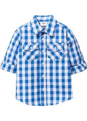 Клетчатая рубашка (ледниково-синий/белый в клетку) bonprix. Цвет: ледниково-синий/белый в клетку