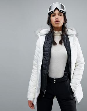 Spyder Длинная горнолыжная куртка с искусственным мехом Timeless. Цвет: белый