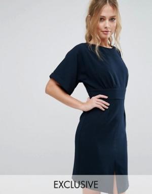 Closet London Платье миди с завязкой сзади и разрезом спереди. Цвет: синий