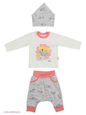 Костюм для малышей WO&GO. Цвет: белый, серый меланж, розовый