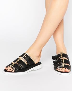 Miista Кожаные сандалии с пряжками Emmie. Цвет: черный