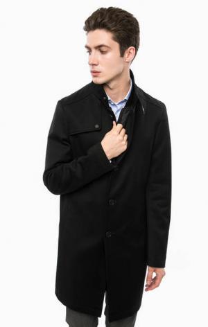 Черное пальто с карманами и ветрозащитной планкой Cinque. Цвет: черный
