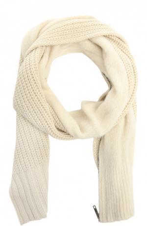 Вязаный шарф-накидка с молнией Ann Demeulemeester. Цвет: белый