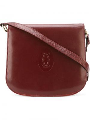 Сумка на плечо с тиснением логотипа Cartier Vintage. Цвет: красный