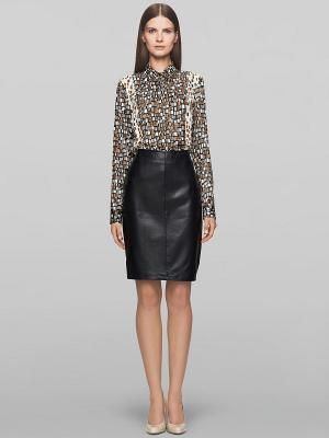 Блузка Elegance. Цвет: черный, коричневый, белый