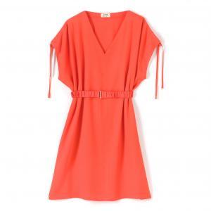 Платье приталенное с короткими рукавами MOLLY BRACKEN. Цвет: оранжевый