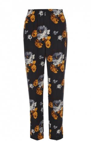Шелковые брюки прямого кроя с цветочным принтом Theory. Цвет: разноцветный