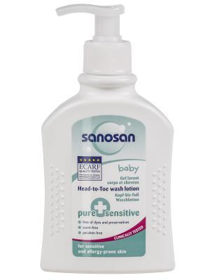 Детское средство для купания с дозатором чувствительной кожи P S  2 в 1 200мл SANOSAN. Цвет: голубой