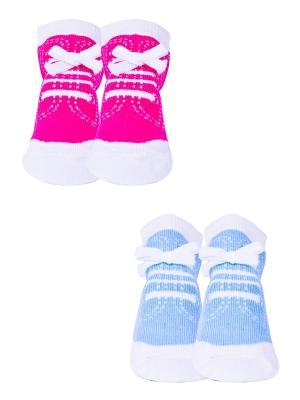 Носки, 2 пары Malerba. Цвет: голубой, розовый
