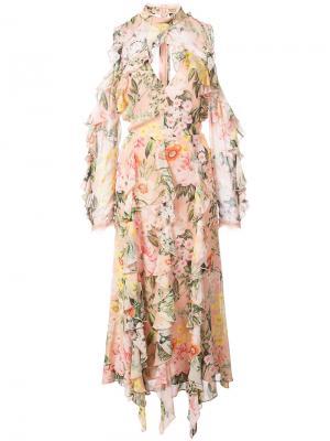 Платье с вырезами на плечах Aveline Nicholas. Цвет: розовый и фиолетовый
