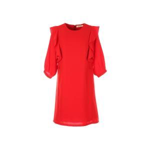 Платье короткое с воланами и рукавами 3/4 RENE DERHY. Цвет: красный