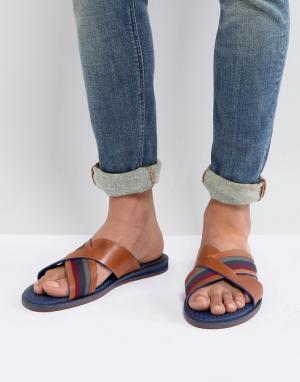 Ted Baker Коричневые кожаные сандалии Farrull. Цвет: коричневый