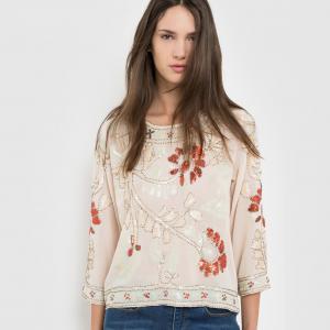 Блузка с рукавами 3/4, цветочным принтом и блестками MOLLY BRACKEN. Цвет: бежевый