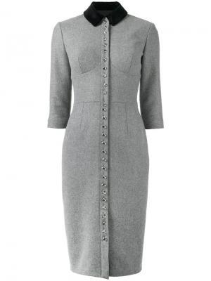 Платье на пуговицах Olympia Le-Tan. Цвет: серый