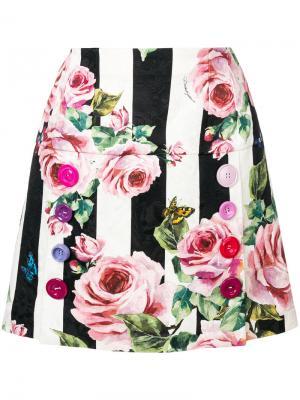 Мини-юбка в полоску с цветочным принтом Dolce & Gabbana. Цвет: многоцветный