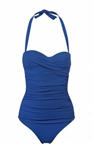 Слитный купальник с декоративной драпировкой Heidi Klein. Цвет: синий